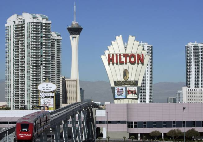 Las Vegas Hilton sign - November, 2007 as it appears on Las Vegas Sun newspaper